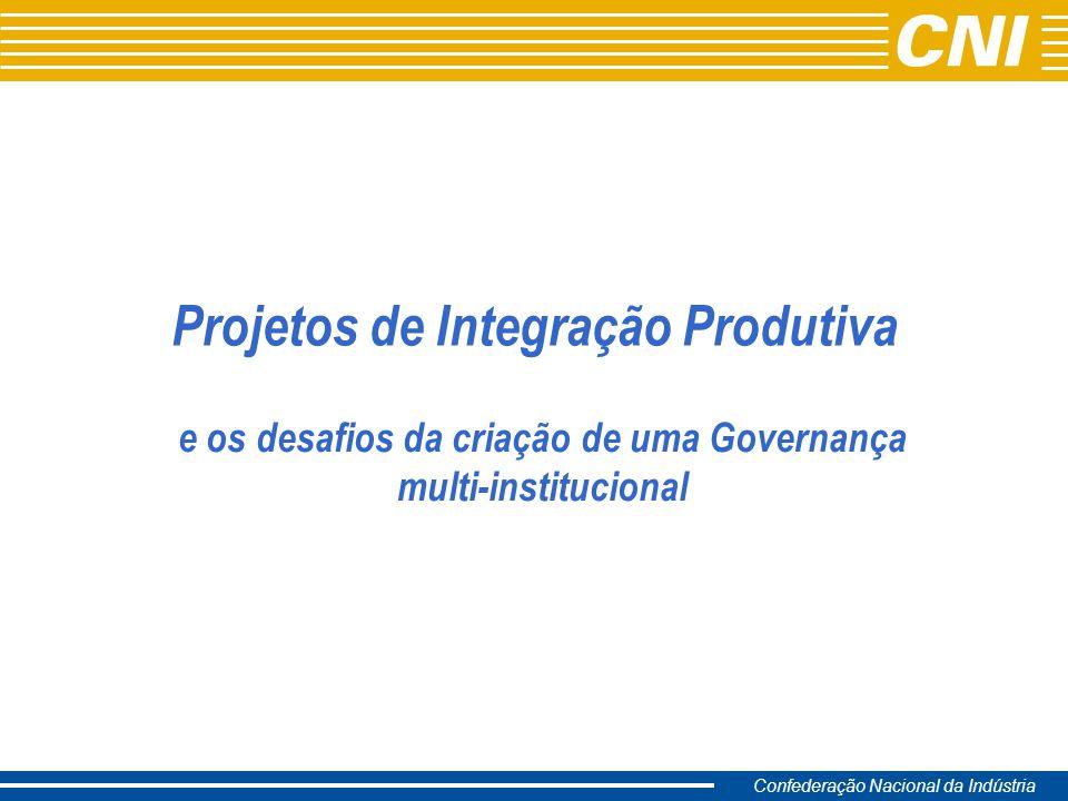 Confederação Nacional da Indústria Projetos de Integração Produtiva e os desafios da criação de uma Governança multi-institucional