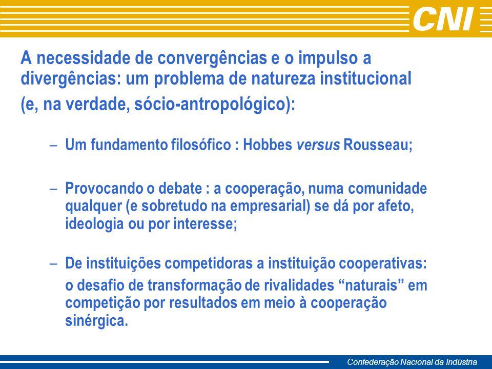 Confederação Nacional da Indústria A necessidade de convergências e o impulso a divergências: um problema de natureza institucional (e, na verdade, só