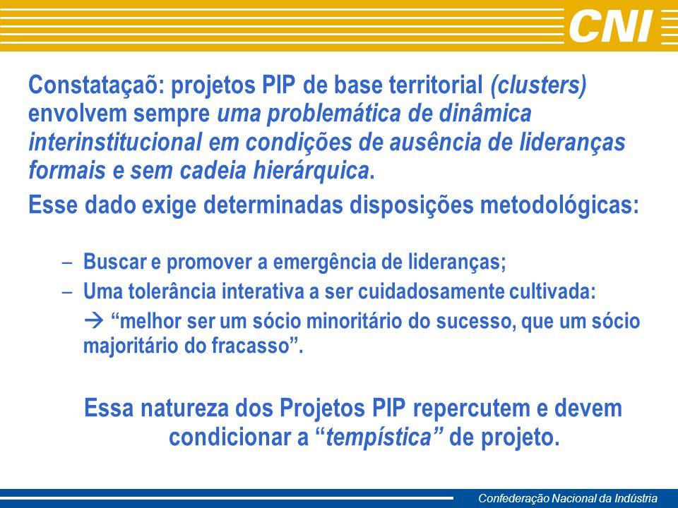Confederação Nacional da Indústria Constataçaõ: projetos PIP de base territorial (clusters) envolvem sempre uma problemática de dinâmica interinstituc