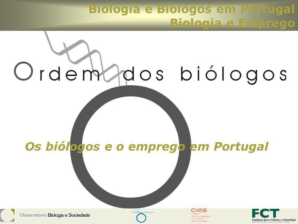 Os biólogos e o emprego em Portugal Biologia e Biólogos em Portugal Biologia e Emprego