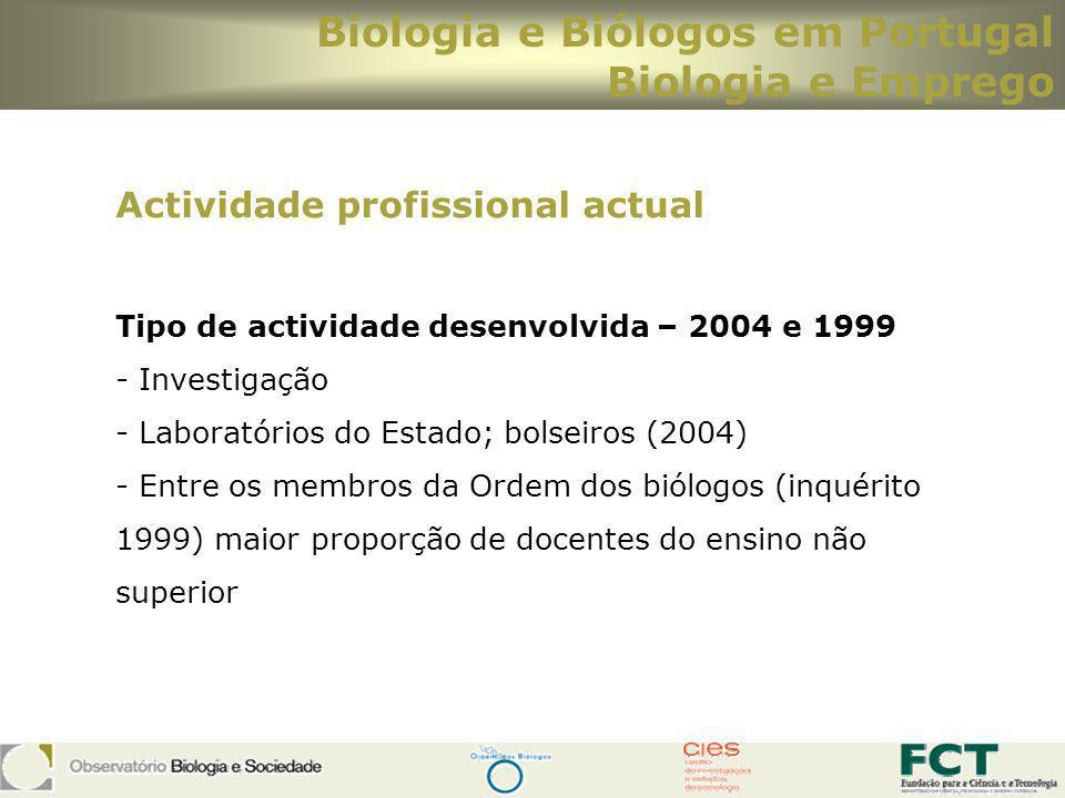 Biologia e Biólogos em Portugal Biologia e Emprego Actividade profissional actual Tipo de actividade desenvolvida – 2004 e 1999 - Investigação - Labor