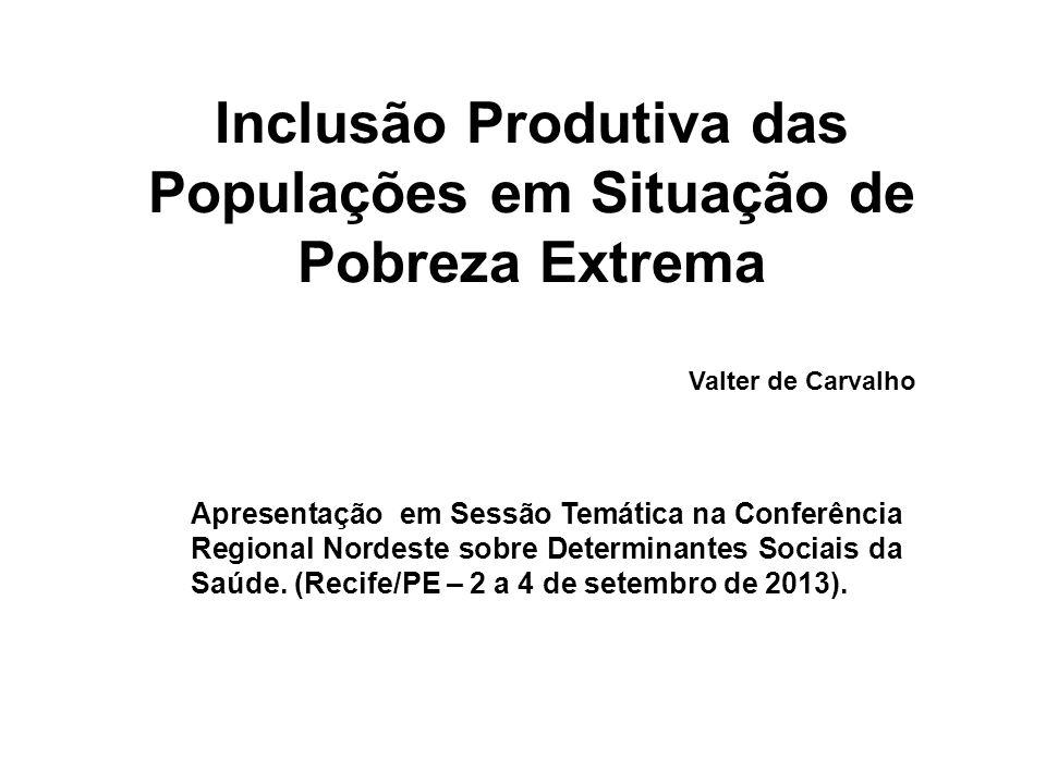Inclusão Produtiva das Populações em Situação de Pobreza Extrema Apresentação em Sessão Temática na Conferência Regional Nordeste sobre Determinantes Sociais da Saúde.