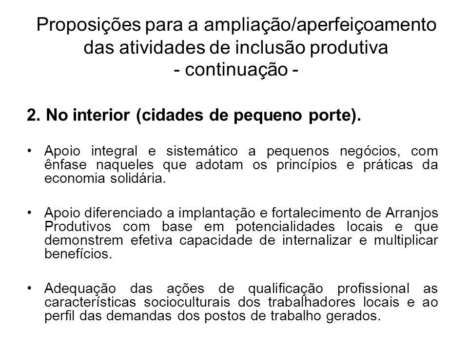 2. No interior (cidades de pequeno porte). Apoio integral e sistemático a pequenos negócios, com ênfase naqueles que adotam os princípios e práticas d