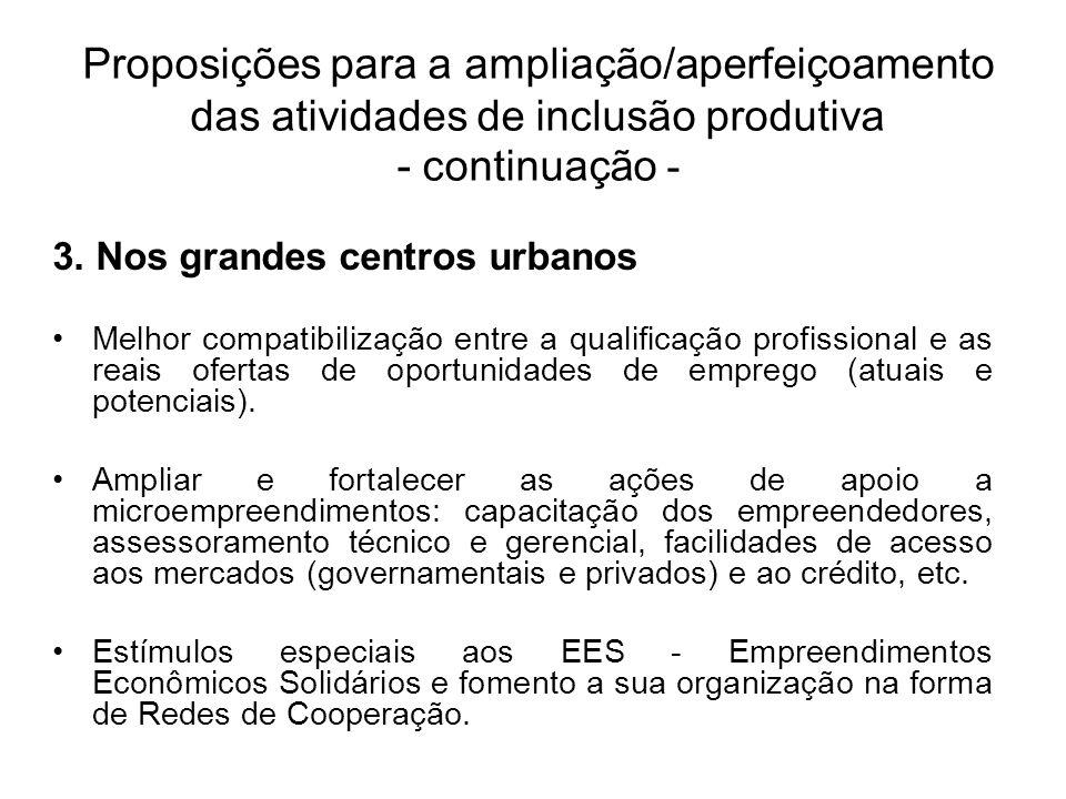 3. Nos grandes centros urbanos Melhor compatibilização entre a qualificação profissional e as reais ofertas de oportunidades de emprego (atuais e pote