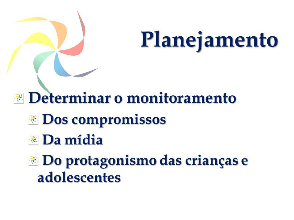Determinar o monitoramento Determinar o monitoramento Dos compromissos Dos compromissos Da mídia Da mídia Do protagonismo das crianças e adolescentes Do protagonismo das crianças e adolescentes Planejamento