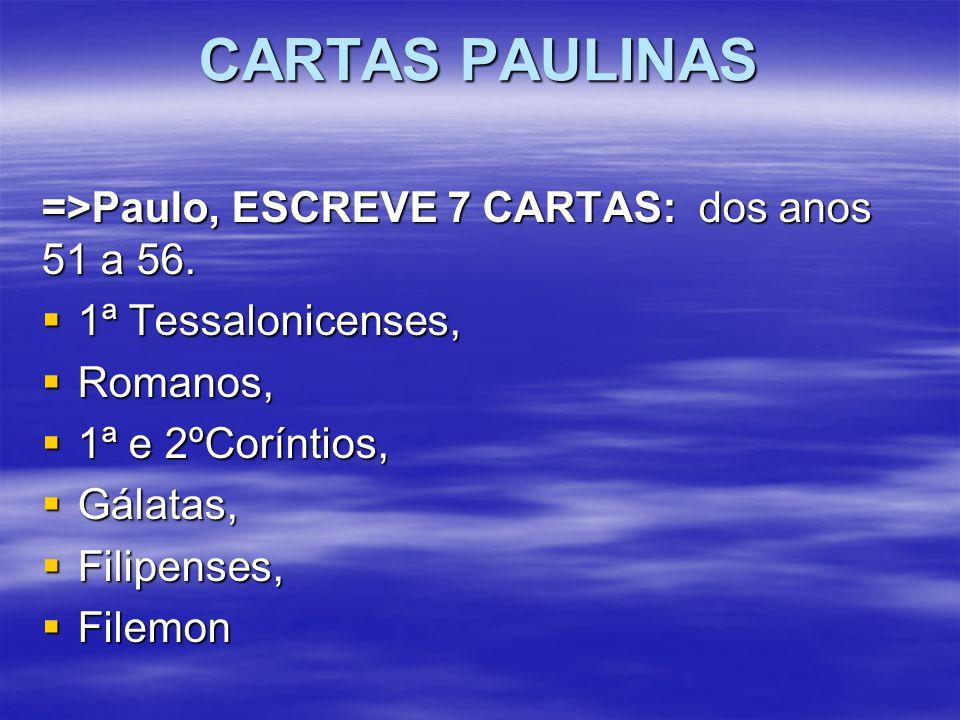 CARTAS PAULINAS =>Paulo, ESCREVE 7 CARTAS: dos anos 51 a 56.  1ª Tessalonicenses,  Romanos,  1ª e 2ºCoríntios,  Gálatas,  Filipenses,  Filemon