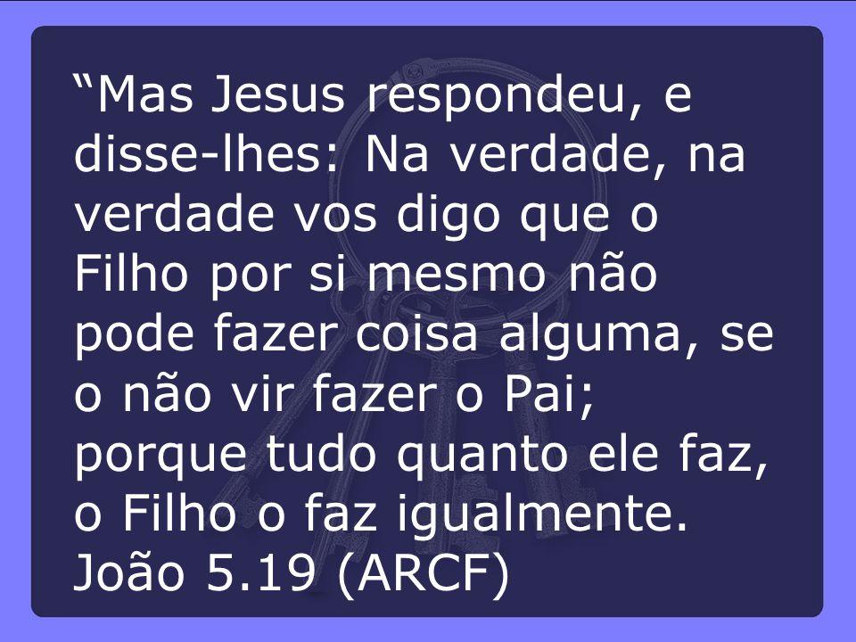 """""""Mas Jesus respondeu, e disse-lhes: Na verdade, na verdade vos digo que o Filho por si mesmo não pode fazer coisa alguma, se o não vir fazer o Pai; po"""