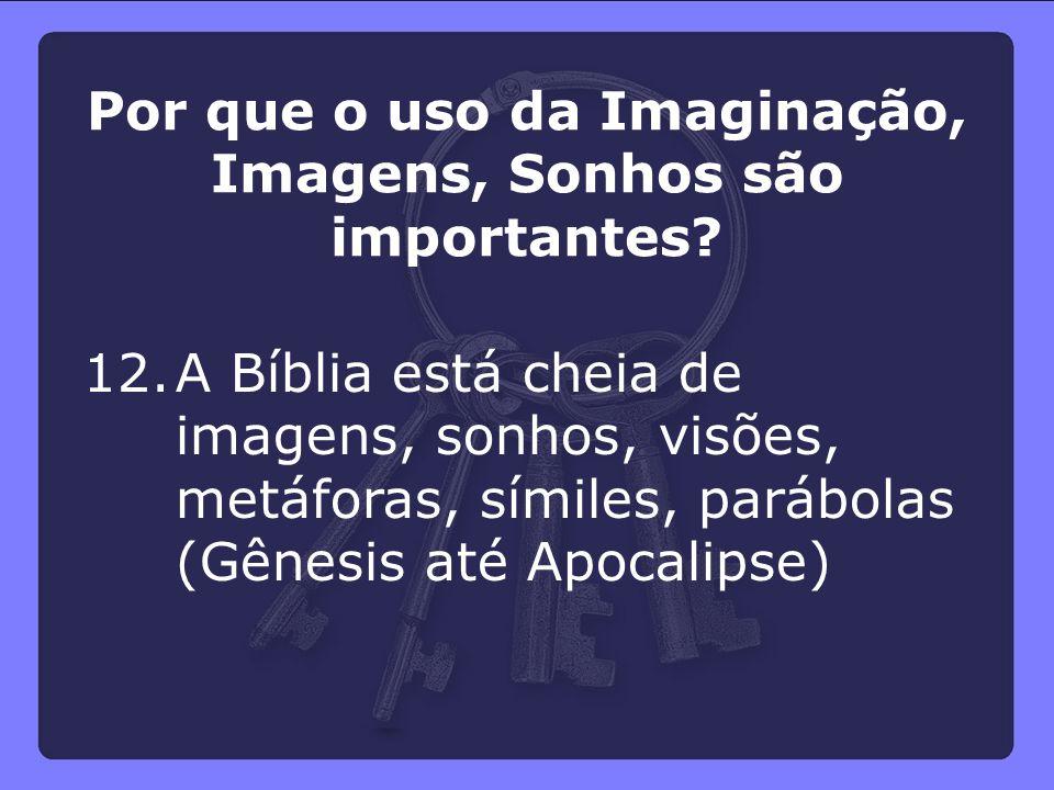 12.A Bíblia está cheia de imagens, sonhos, visões, metáforas, símiles, parábolas (Gênesis até Apocalipse) Por que o uso da Imaginação, Imagens, Sonhos