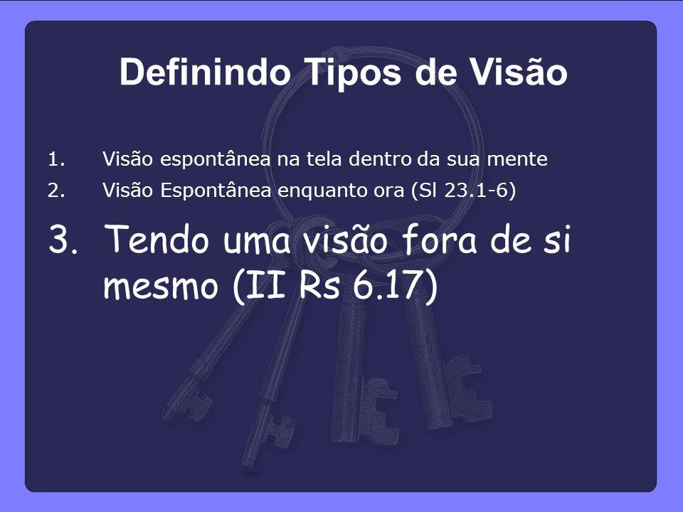 1.Visão espontânea na tela dentro da sua mente 2.Visão Espontânea enquanto ora (Sl 23.1-6) 3.Tendo uma visão fora de si mesmo (II Rs 6.17) Definindo T