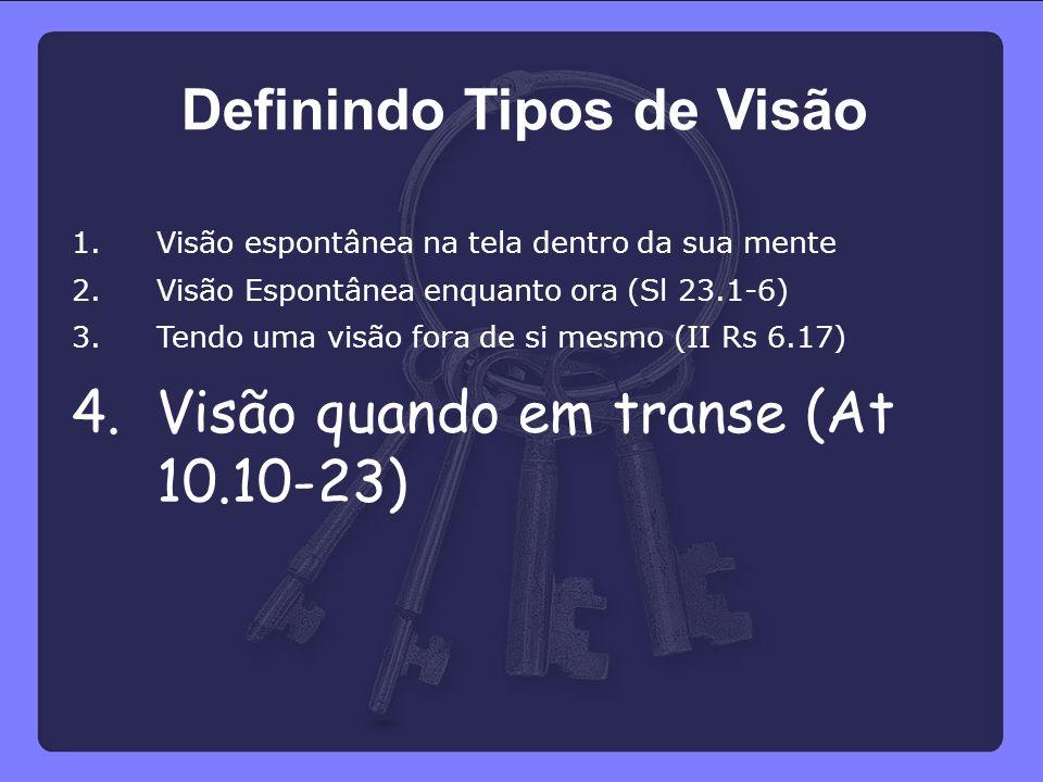 1.Visão espontânea na tela dentro da sua mente 2.Visão Espontânea enquanto ora (Sl 23.1-6) 3.Tendo uma visão fora de si mesmo (II Rs 6.17) 4.Visão qua