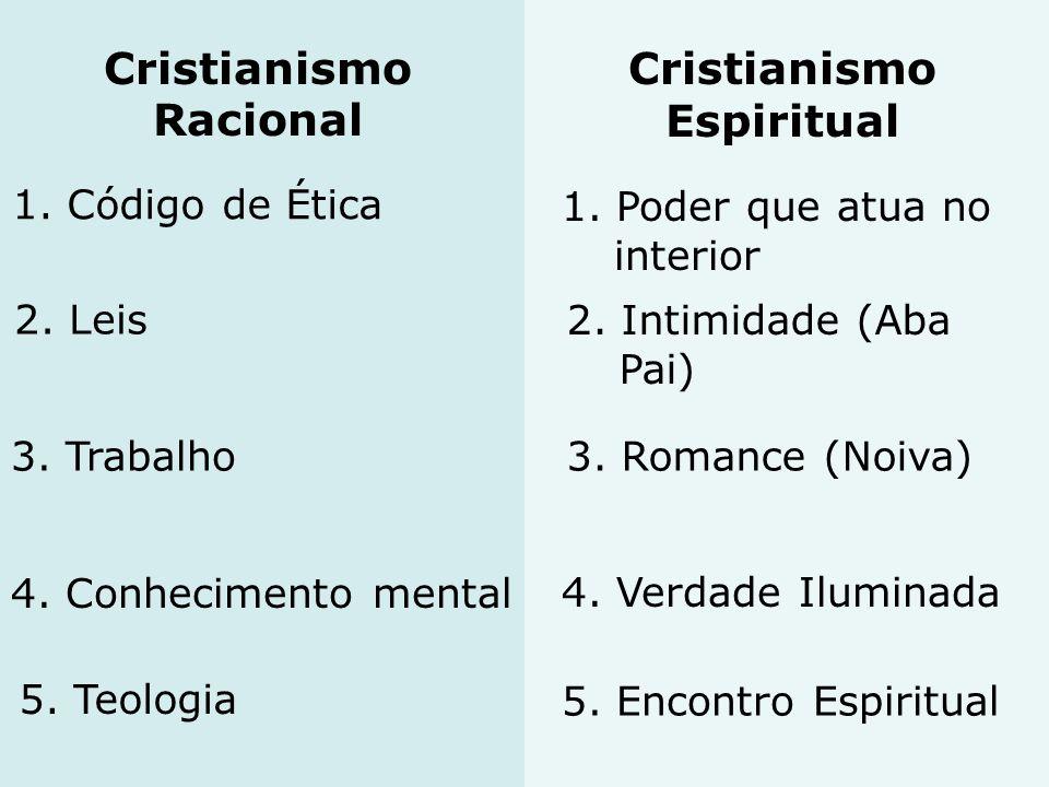 Cristianismo Espiritual Cristianismo Racional 1. Código de Ética 1. Poder que atua no interior 2. Leis 2. Intimidade (Aba Pai) 3. Trabalho3. Romance (