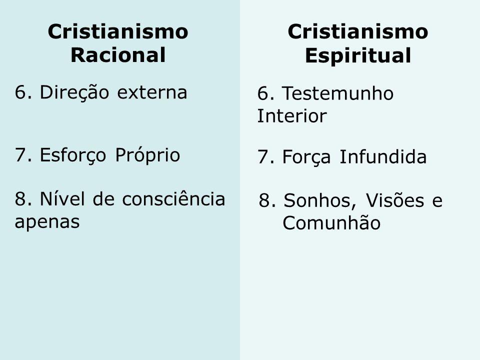 6. Direção externa 6. Testemunho Interior 7. Esforço Próprio 7. Força Infundida 8. Nível de consciência apenas 8. Sonhos, Visões e Comunhão Cristianis