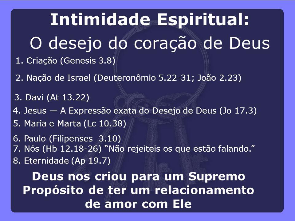 """Deus nos criou para um Supremo Propósito de ter um relacionamento de amor com Ele 8. Eternidade (Ap 19.7) 7. Nós (Hb 12.18-26) """"Não rejeiteis os que e"""