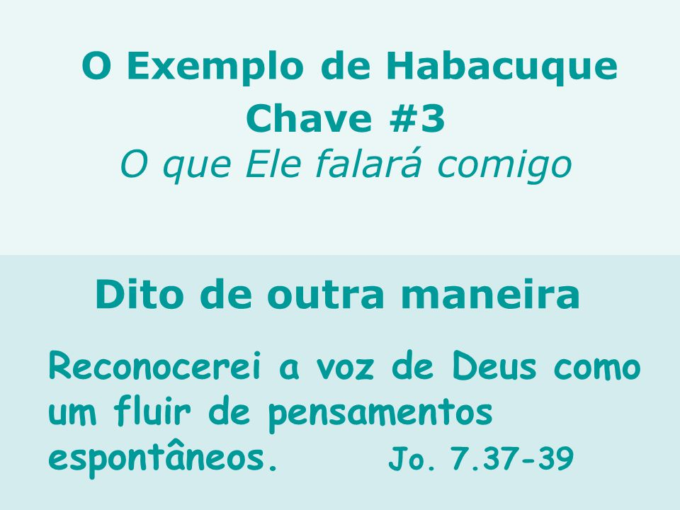Reconocerei a voz de Deus como um fluir de pensamentos espontâneos. Jo. 7.37-39 Chave #3 O que Ele falará comigo Dito de outra maneira O Exemplo de Ha