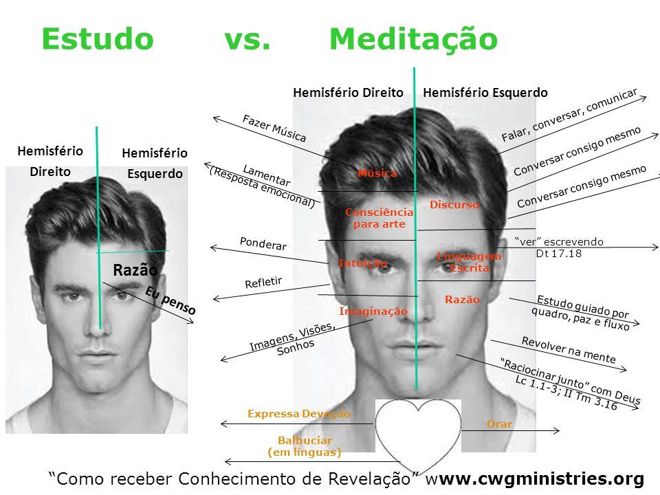 """Meditação Estudo vs. """"Como receber Conhecimento de Revelação"""" www.cwgministries.org Hemisfério Direito Hemisfério Esquerdo Lamentar (Resposta emociona"""