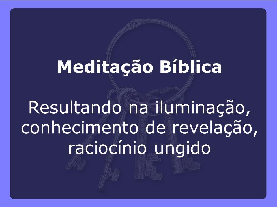 Meditação Bíblica Resultando na iluminação, conhecimento de revelação, raciocínio ungido