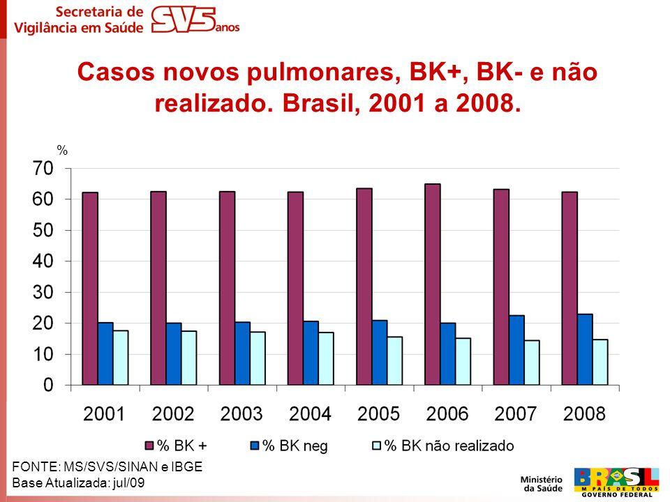 Casos novos pulmonares, BK+, BK- e não realizado. Brasil, 2001 a 2008. % FONTE: MS/SVS/SINAN e IBGE Base Atualizada: jul/09