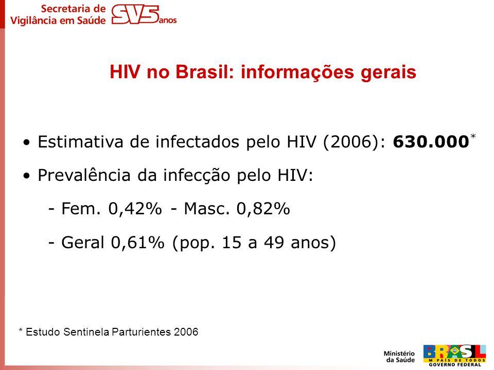 Estimativa de infectados pelo HIV (2006): 630.000 * Prevalência da infecção pelo HIV: - Fem. 0,42% - Masc. 0,82% - Geral 0,61% (pop. 15 a 49 anos) HIV