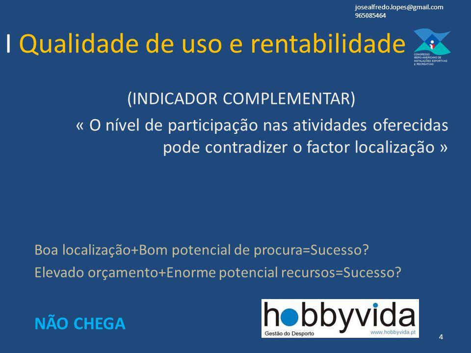 (INDICADOR COMPLEMENTAR) « O nível de participação nas atividades oferecidas pode contradizer o factor localização » Boa localização+Bom potencial de procura=Sucesso.