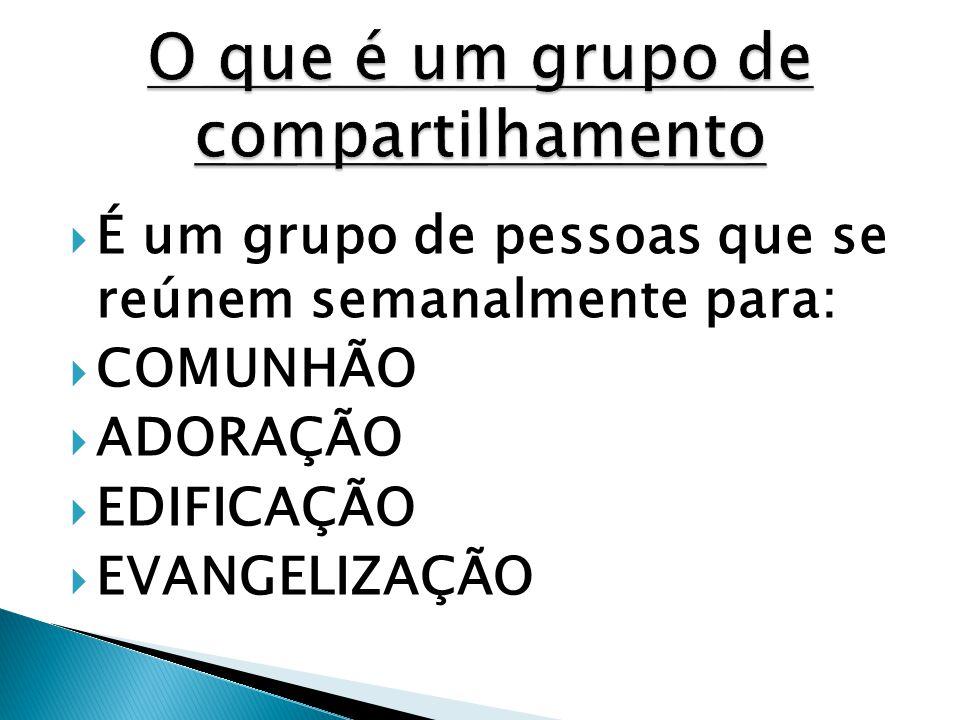  É um grupo de pessoas que se reúnem semanalmente para:  COMUNHÃO  ADORAÇÃO  EDIFICAÇÃO  EVANGELIZAÇÃO