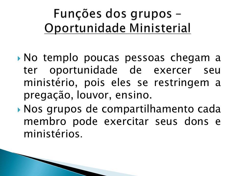  No templo poucas pessoas chegam a ter oportunidade de exercer seu ministério, pois eles se restringem a pregação, louvor, ensino.  Nos grupos de co