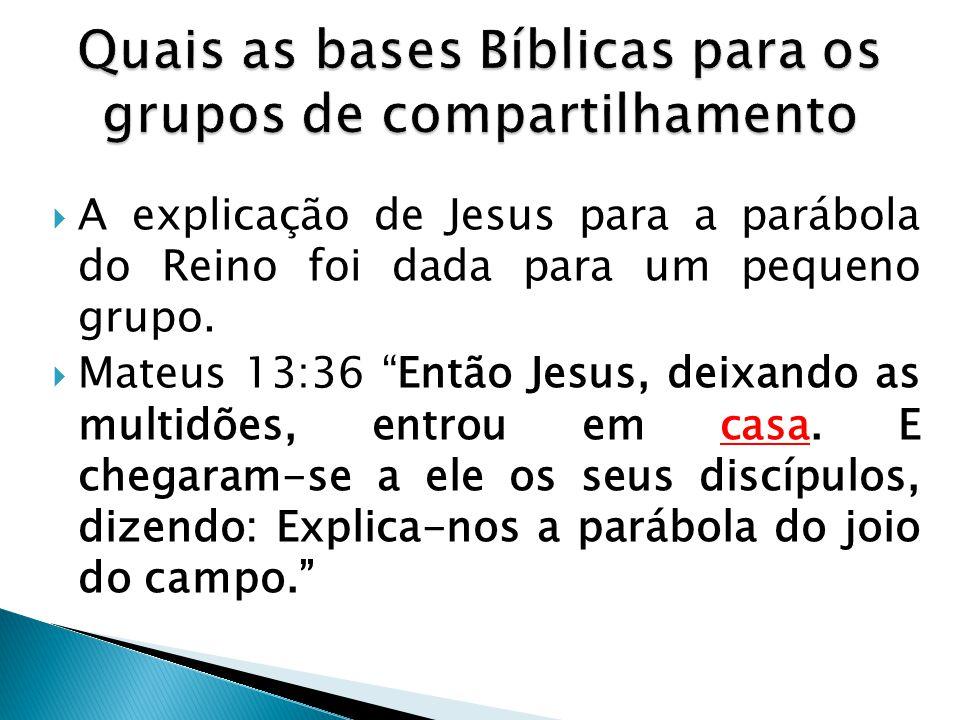 """ A explicação de Jesus para a parábola do Reino foi dada para um pequeno grupo.  Mateus 13:36 """"Então Jesus, deixando as multidões, entrou em casa. E"""