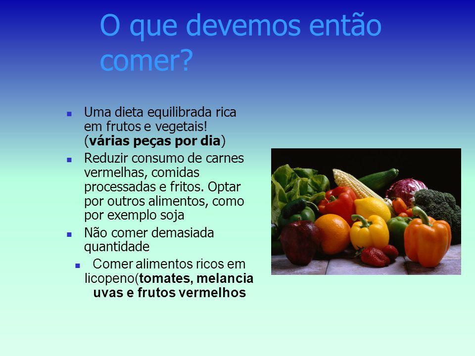 Factores de risco DIETA Comer carnes vermelhas aumenta o risco de desenvolver cancro da prostata A carne vermelha e os produtos lácteos tem valores el