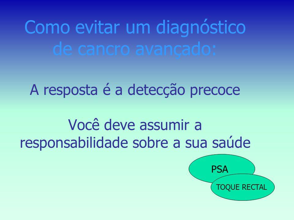 A detecção precoce pode ajudar? A taxa de sobrevivência aos 5 anos é de 99% para os cancros ainda localizados na glândula prostática A taxa de sobrevi