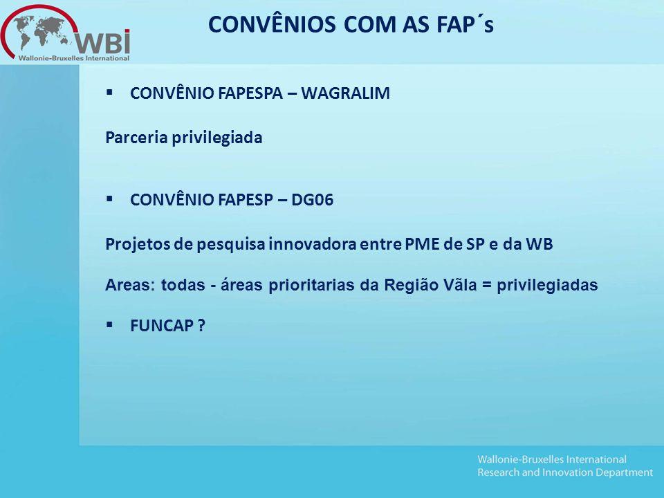  CONVÊNIO FAPESPA – WAGRALIM Parceria privilegiada  CONVÊNIO FAPESP – DG06 Projetos de pesquisa innovadora entre PME de SP e da WB Areas: todas - áreas prioritarias da Região Vãla = privilegiadas  FUNCAP .