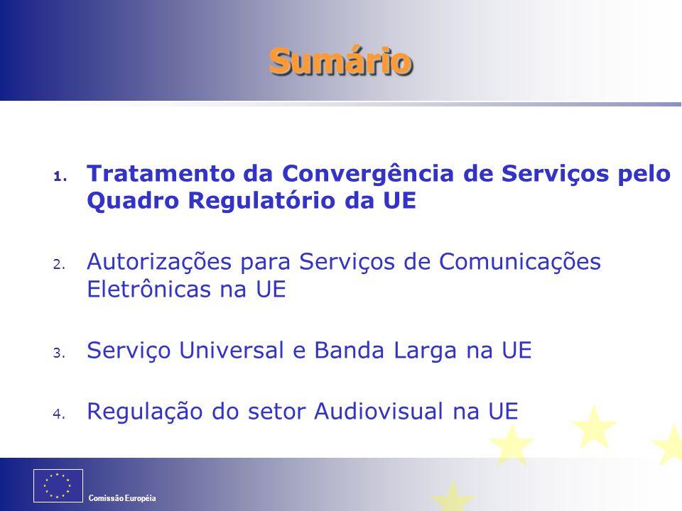 Comissão Européia Autorizações para Serviços de Comunicações Eletrônicas (I) Diretiva de Autorizações da UE (adotada em março 2002: atualizada em dezembro 2009) http://ec.europa.eu/information_society/policy/ecomm/doc/140authorisation.pdf Princípio geral: Licenças Individuais para a prestação de serviços de comunicações eletrônicas substituídas por Autorizações Gerais Permissão a priori para prestar serviços não é necessária Agências reguladoras da UE podem solicitar ser notificadas da intenção de uma empresa de iniciar a prestação de um serviço, de forma a manter um registro, mas… a prestadora do serviço não necessitará de esperar por uma resposta do regulador a essa notificação … nem deverá ser solicitada a fornecer mais informação que a necessária para aa identificação da empresa