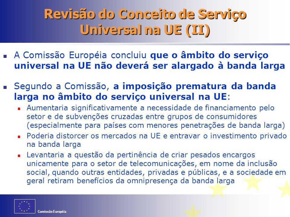 Comissão Européia Revisão do Conceito de Serviço Universal na UE (II) A Comissão Européia concluiu que o âmbito do serviço universal na UE não deverá