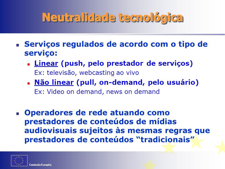 Comissão Européia Neutralidade tecnológica Serviços regulados de acordo com o tipo de serviço: Linear (push, pelo prestador de serviços) Ex: televisão