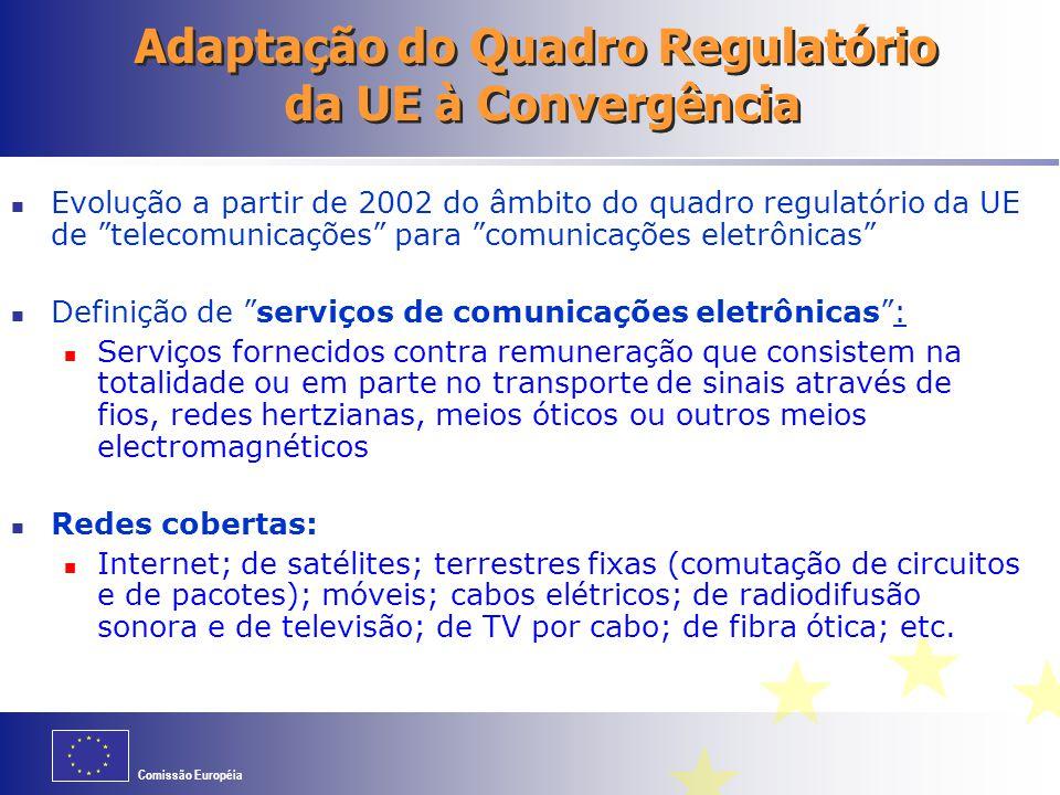 """Comissão Européia Adaptação do Quadro Regulatório da UE à Convergência Evolução a partir de 2002 do âmbito do quadro regulatório da UE de """"telecomunic"""