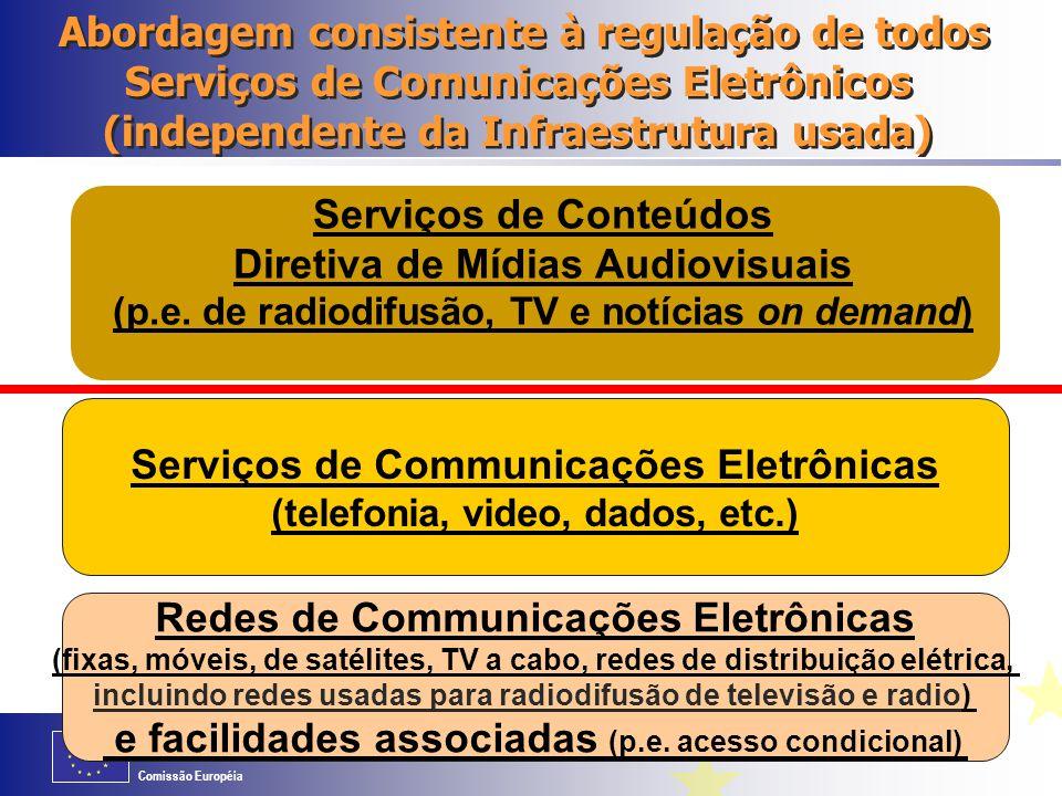Comissão Européia Regras para Transmissão de programas de Televisão e Rádio A transmissão de programas de televisão e rádio é também considerada um serviço de comunicação eletrônica O quadro regulatório da UE aplica-se portanto também às redes de radiodifusão de televisão e radio e às redes de TV por cabo Quanto aos conteúdos transmitidos por essas redes, não são cobertos por esse Quadro Regulatório mas sim pela Diretiva de Mídias Audiovisuais da UE