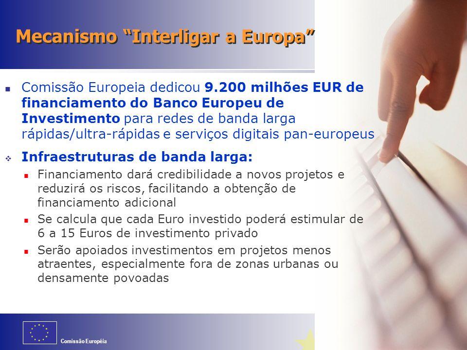 Comissão Européia Mecanismo Interligar a Europa Comissão Europeia dedicou 9.200 milhões EUR de financiamento do Banco Europeu de Investimento para redes de banda larga rápidas/ultra-rápidas e serviços digitais pan-europeus  Infraestruturas de banda larga: Financiamento dará credibilidade a novos projetos e reduzirá os riscos, facilitando a obtenção de financiamento adicional Se calcula que cada Euro investido poderá estimular de 6 a 15 Euros de investimento privado Serão apoiados investimentos em projetos menos atraentes, especialmente fora de zonas urbanas ou densamente povoadas