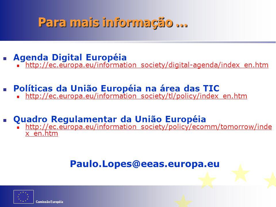 Comissão Européia Para mais informação … Agenda Digital Européia http://ec.europa.eu/information_society/digital-agenda/index_en.htm Políticas da Uniã