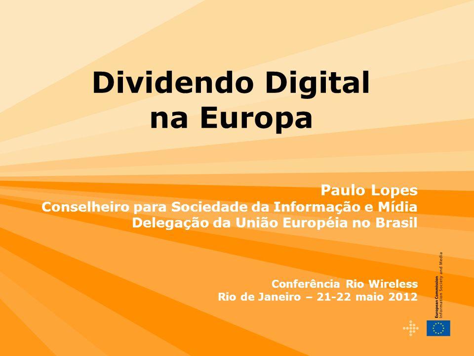 12 Dividendo Digital na UE (a partir de 2013)  470-790 MHz: Radiodifusão (principalmente DVB-T/MPEG-2 mas também DVB-T/MPEG-4 e DVB-T2/AVC)  790-862 MHz: Banda larga sem fios (60 MHz FDD preferido, TDD permitido + gap central 12 MHz)