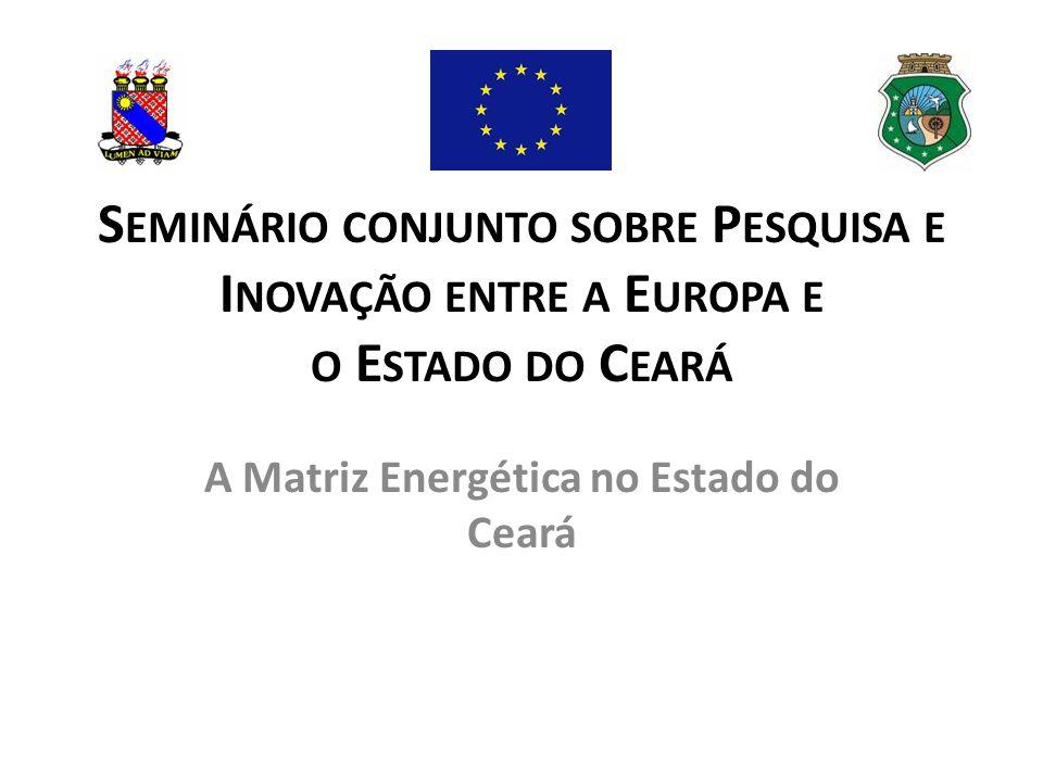 S EMINÁRIO CONJUNTO SOBRE P ESQUISA E I NOVAÇÃO ENTRE A E UROPA E O E STADO DO C EARÁ A Matriz Energética no Estado do Ceará