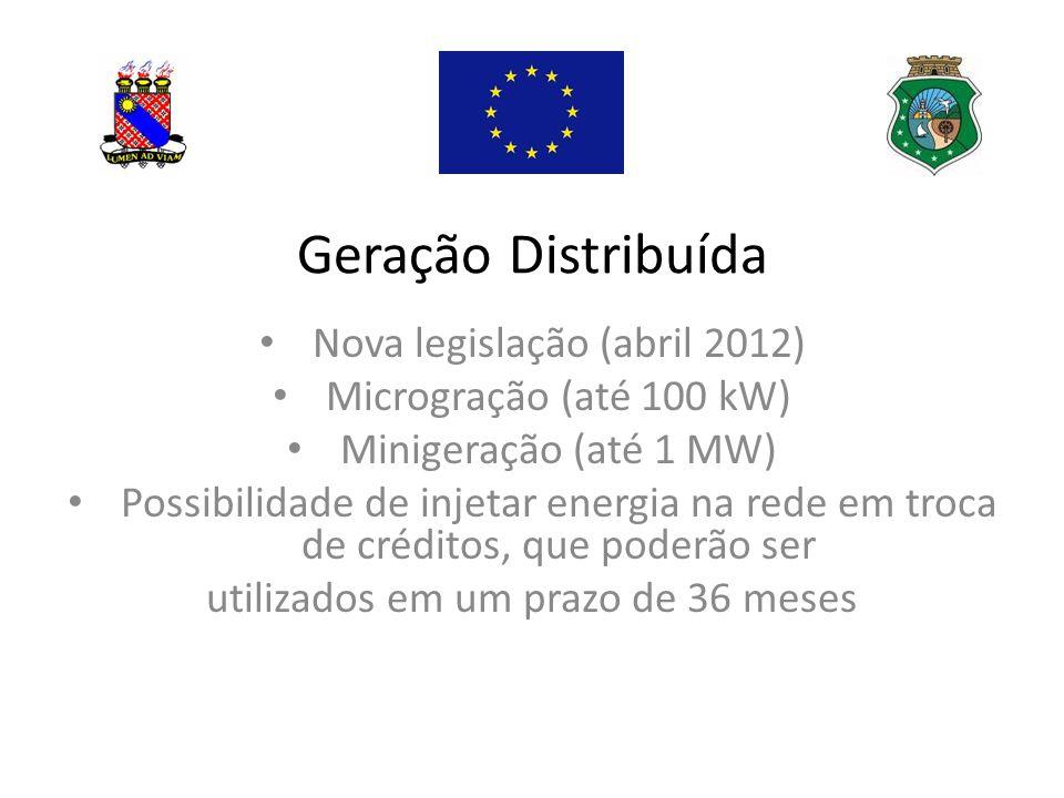 Geração Distribuída Nova legislação (abril 2012) Microgração (até 100 kW) Minigeração (até 1 MW) Possibilidade de injetar energia na rede em troca de créditos, que poderão ser utilizados em um prazo de 36 meses