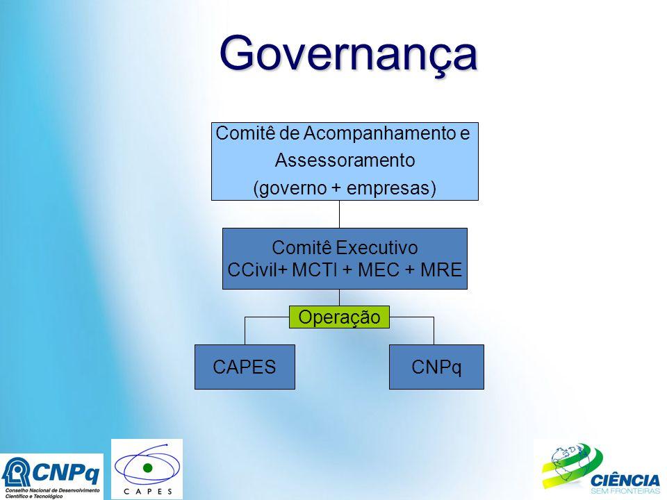 Governança Governança CAPESCNPq Comitê de Acompanhamento e Assessoramento (governo + empresas) Comitê Executivo CCivil+ MCTI + MEC + MRE Operação