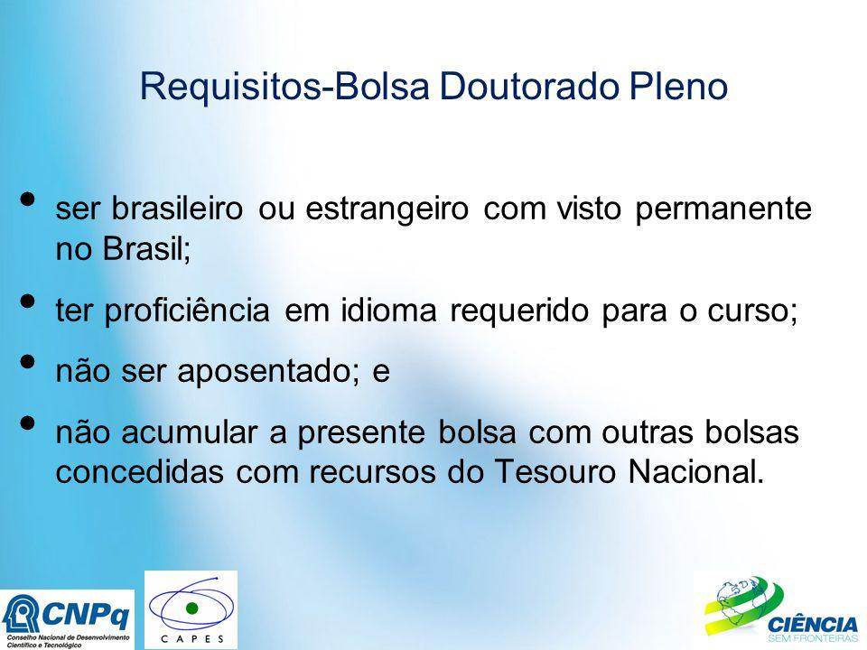 Requisitos-Bolsa Doutorado Pleno ser brasileiro ou estrangeiro com visto permanente no Brasil; ter proficiência em idioma requerido para o curso; não ser aposentado; e não acumular a presente bolsa com outras bolsas concedidas com recursos do Tesouro Nacional.