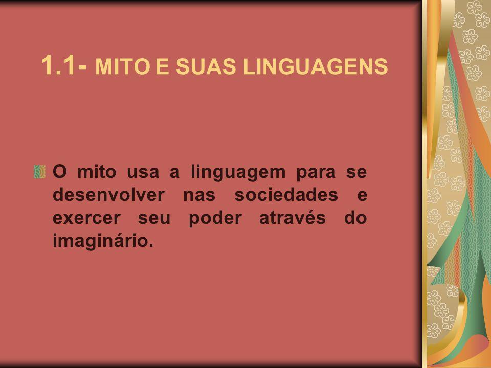 1.1- MITO E SUAS LINGUAGENS O mito usa a linguagem para se desenvolver nas sociedades e exercer seu poder através do imaginário.