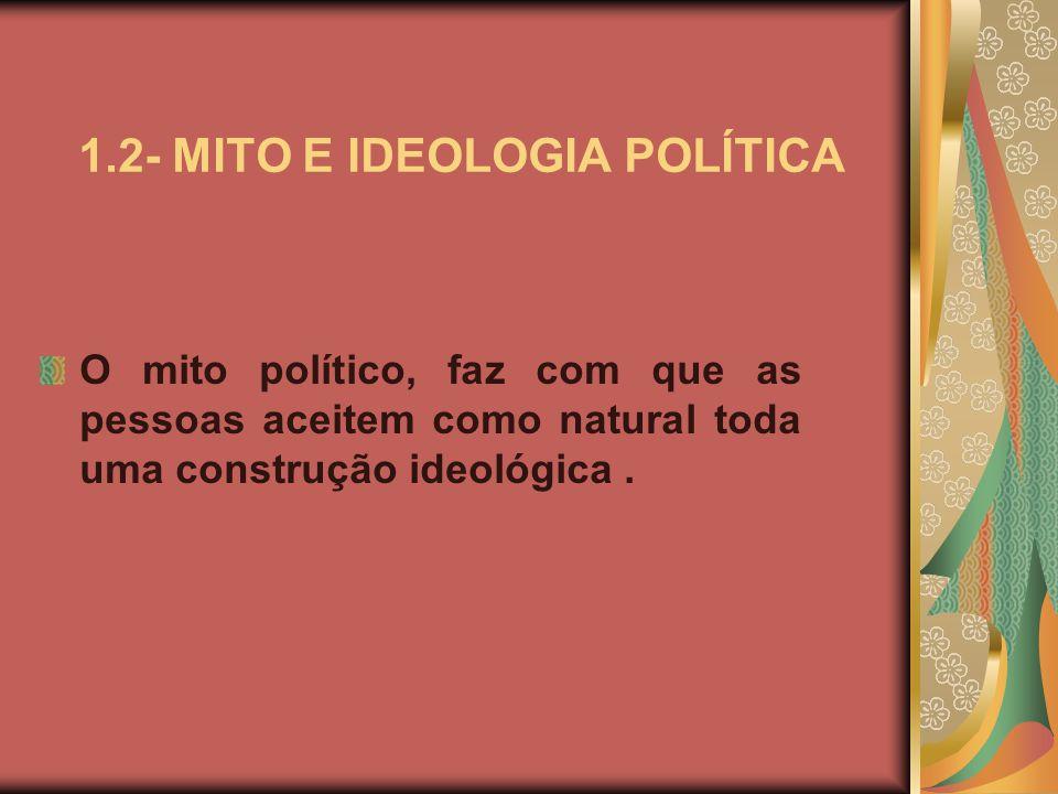 1.2- MITO E IDEOLOGIA POLÍTICA O mito político, faz com que as pessoas aceitem como natural toda uma construção ideológica.