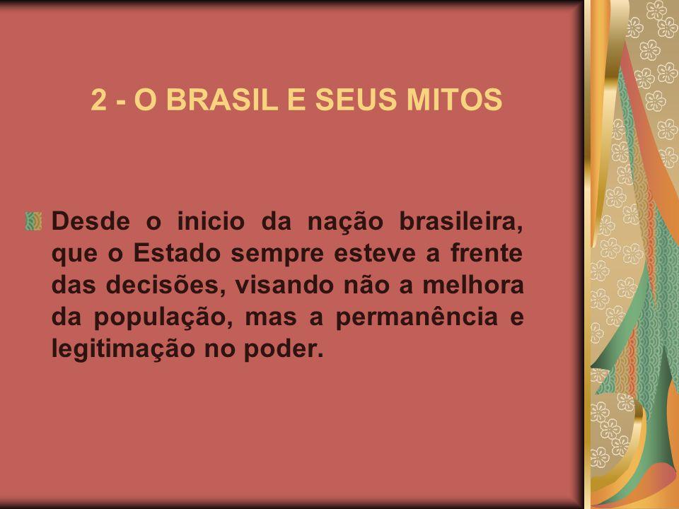 2 - O BRASIL E SEUS MITOS Desde o inicio da nação brasileira, que o Estado sempre esteve a frente das decisões, visando não a melhora da população, mas a permanência e legitimação no poder.