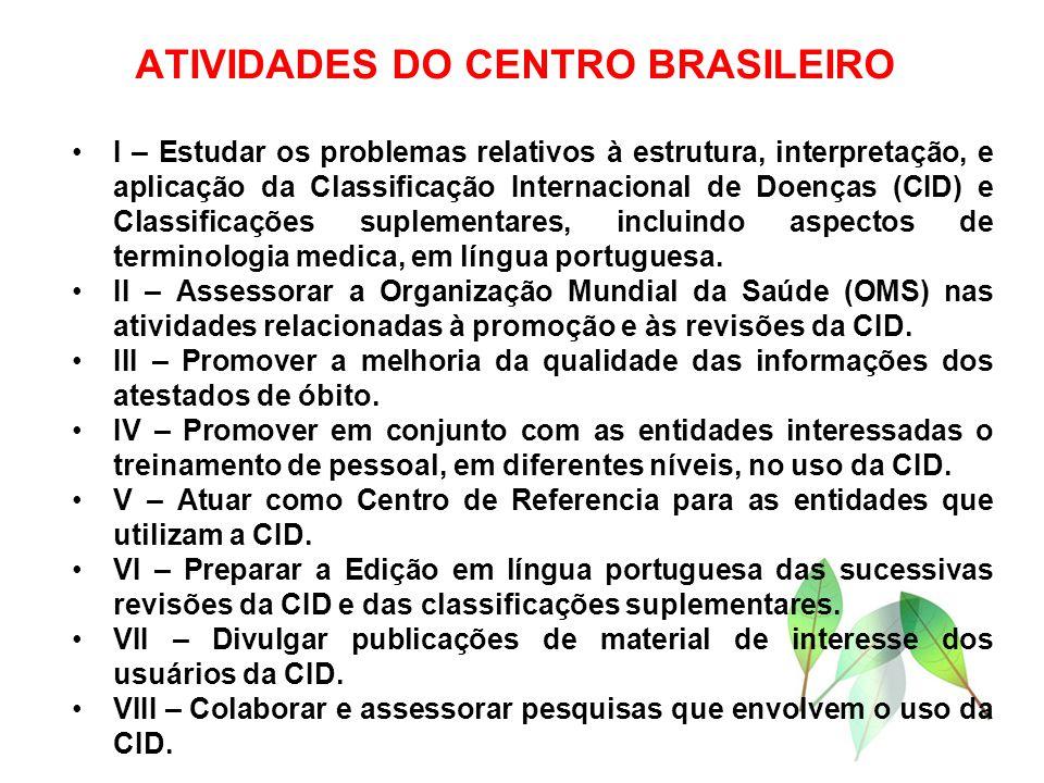ATIVIDADES DO CENTRO BRASILEIRO I – Estudar os problemas relativos à estrutura, interpretação, e aplicação da Classificação Internacional de Doenças (CID) e Classificações suplementares, incluindo aspectos de terminologia medica, em língua portuguesa.