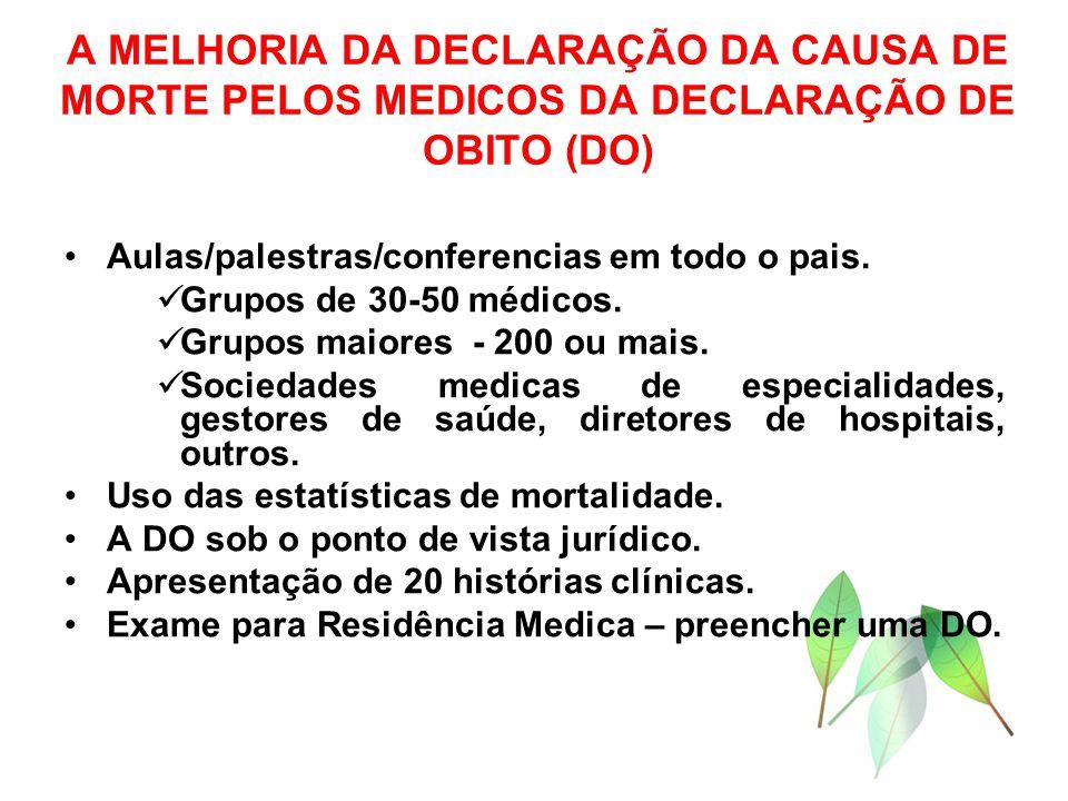 A MELHORIA DA DECLARAÇÃO DA CAUSA DE MORTE PELOS MEDICOS DA DECLARAÇÃO DE OBITO (DO) Aulas/palestras/conferencias em todo o pais. Grupos de 30-50 médi