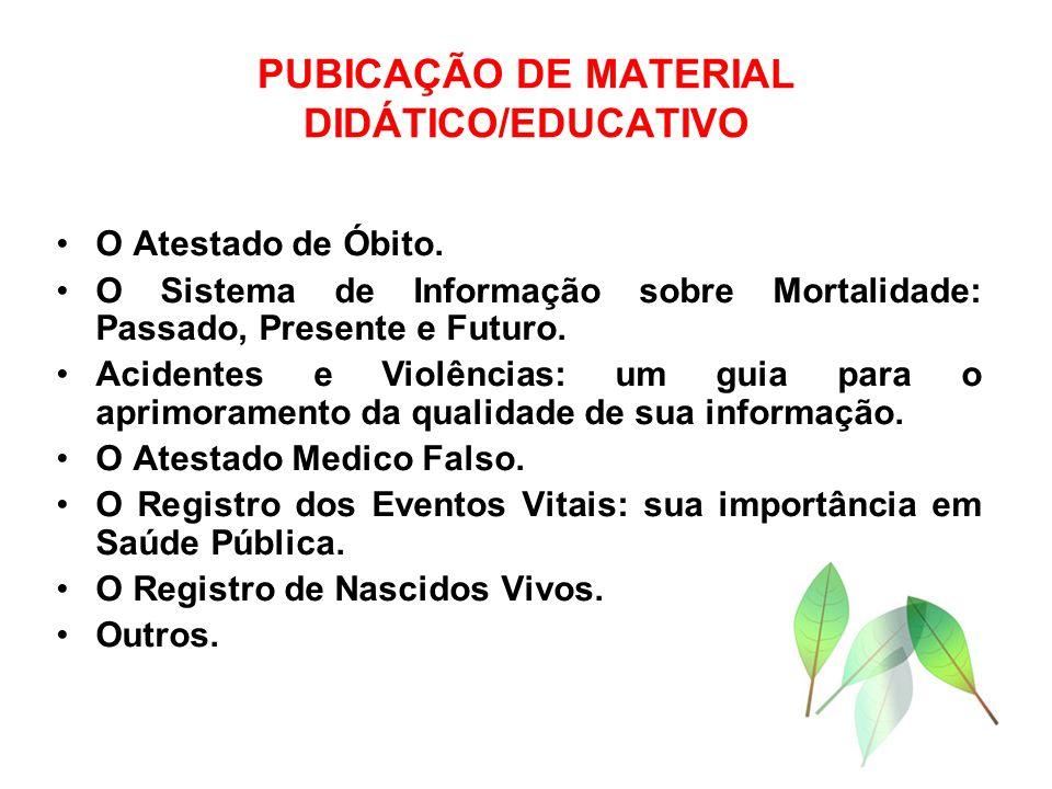 PUBICAÇÃO DE MATERIAL DIDÁTICO/EDUCATIVO O Atestado de Óbito. O Sistema de Informação sobre Mortalidade: Passado, Presente e Futuro. Acidentes e Violê
