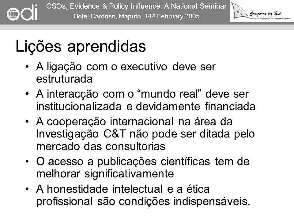 RAPID Programme CSOs, Evidence & Policy Influence: A National Seminar Hotel Cardoso, Maputo, 14 th February 2005 10 Lições aprendidas A ligação com o
