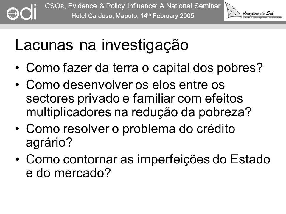RAPID Programme CSOs, Evidence & Policy Influence: A National Seminar Hotel Cardoso, Maputo, 14 th February 2005 8 Lacunas na investigação Como fazer
