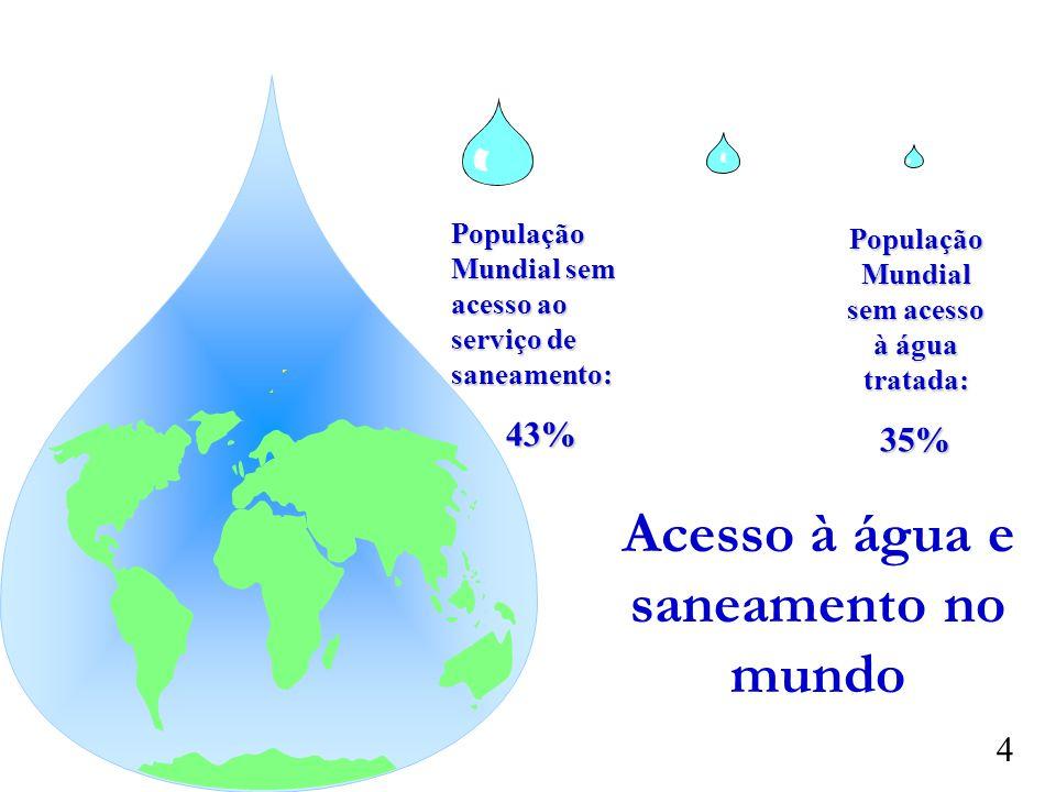 Acesso à água e saneamento no mundo População Mundial sem acesso ao serviço de saneamento: 43% População Mundial sem acesso à água tratada: 35% 4